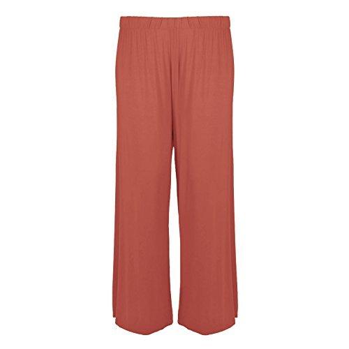 WearAll - Damen Übergröße palazzo weitem bein schlaghosen gummizug - 7 Farben - Größe 44-54 Koralle