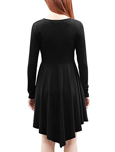 Allegra K Allegra K donne bottoni chiuso fronte lungo -manicato comodo aderente A filo vestito grigio S Nero