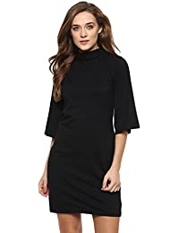 Miss Chase Women's Solid Quarter Sleeves Round Neck Mini Shift Dresses