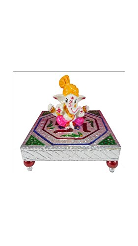 SHINING WINGS - Marble Chowki Ganesha Idol (10 cm x 10 cm x 10 cm) - Marble Chowki Ganesha |Marble Chowki Ganesh | Small Solid Modern Ganash Statue Engraved with Stones Hindu Religious Gifts Indian Decor a Perfect Idea for House Warming Gift, Ganpati Ganesh Idol Great Size for Small Home,Hindu Indian Elephant God Figurine Statue Sculpture, Statue of Lord Ganesha Mosaic Statue with Marble Choki, Modern Articraft Design in Red and Green  available at amazon for Rs.279