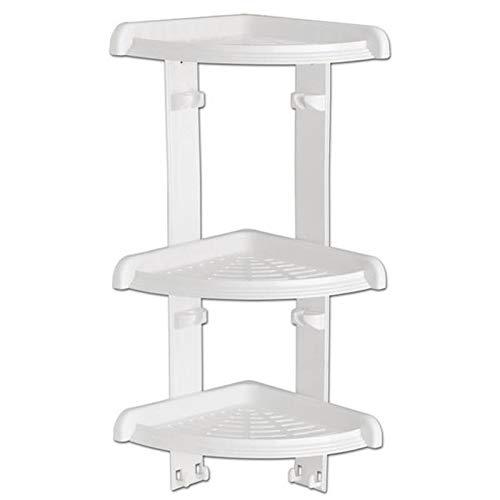 Duschecke - Bad Regal mit 3 Ablagen für Dusche oder Badewanne - Duschablage - Badabalage - Eckregal, Kunststoff Farbe weiß, 49 cm hoch