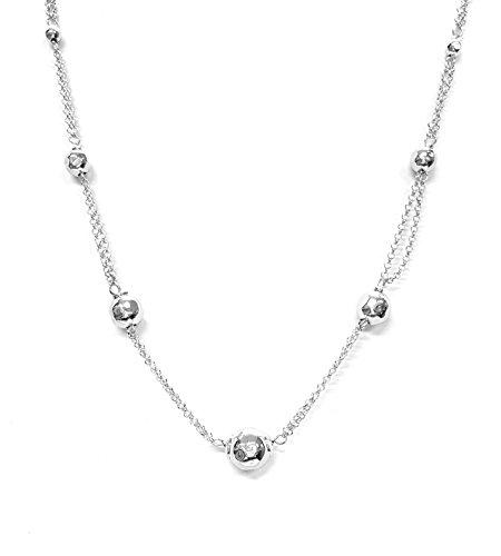 Collana donna in Argento 925 - modello sfere sfaccettate - Linea Italia gioielli Made in Italy