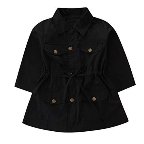 LEXUPE Kleinkind Kinder Baby Mädchen Langarm Trenchcoat Windbreaker Jacke Outwear Parka(Schwarz,100)