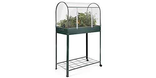 909 outdoor serra da giardino per piante | piccola serra da balcone con 2 ruote e 1 ripiano | copertura in pvc trasparente | per orto, cortile, terrazza | 80 x 41 x 130 cm
