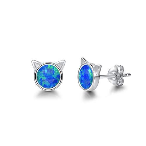 Katze Ohrstecker Ohrringe aus Opale mit 925 Sterling Silber für Frauen Mädchen Baby Kinder, Durchmesser: 7 mm - Blau