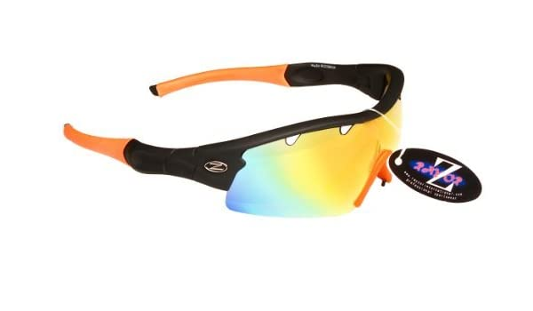 Rayzor professionnel léger UV400 Noir Sport Wrap Tir à l'arc Lunettes de soleil, avec l'or Iridium miroir anti-éblouissement Lens.