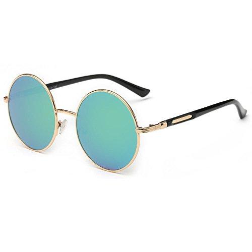 linyuan 601Mujer Lente redonda gafas de sol retro classic funda rígida para vintage UV400 verde