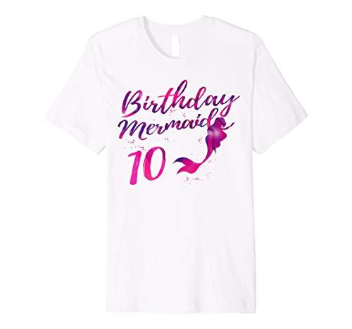Mermaid Birthday Shirt 10 Year Old Girl Gift