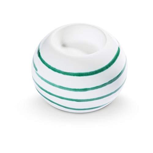 GMUNDNER KERAMIK Kugel-Leuchter für 1 Teelicht Durchmesser : 8.5 cm Grüngeflammt Deko, handgemacht in Österreich -