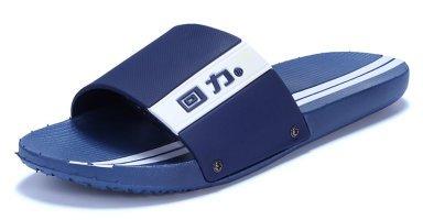 Slip sur les pantoufles de douche antidérapant Sandales Chaussures Plage Mule Think Semelle mousse piscine diapositive de Salle de Bain pour adulte, bleu, 8.5