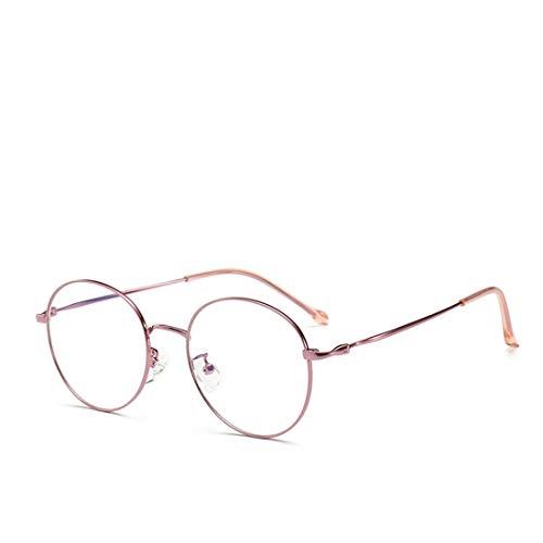 Shiduoli Männer und Frauen Retro-Brille Rahmen runde Brille Nicht Brillen für Frauen, Männer (Color : Rose-Gold)