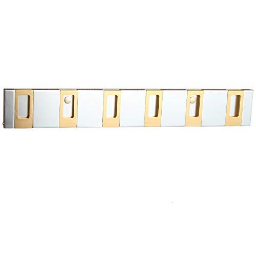 6 - Hook Wall Mounted Floating Coat Rack - Modern, 5 Retractable Hooks to Hang Coats, Scarfs 6 Hook/Gold Free Nail (Leash Retractable Pink)