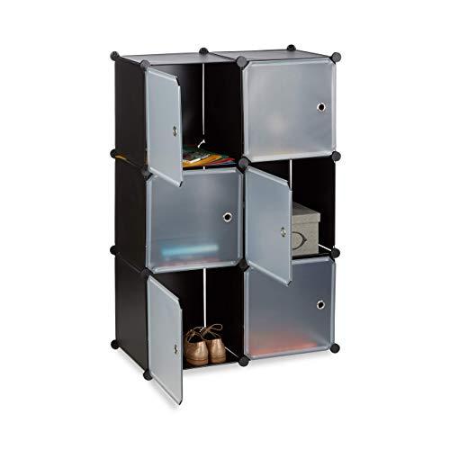 Relaxdays Étagère Cubes penderie Armoire Rangement 6 casiers Plastique modulable DIY HxlxP: 105x70x35 cm, Noir