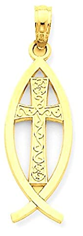 IceCarats 14k Yellow Gold Ichthus Fish Necklace Pendant Charm