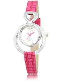 Pink Colour Belt And White Colur Dial And Leather Belt Stylist New Design Wrist Analogue Watch For Girls And Women...