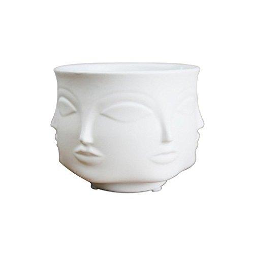 Ganeep Weiß Nordic Keramik Blumentöpfe Kreative Kunst Menschen Gesicht Vase Pflanzer Wohnkultur Handwerk Zimmer Garten Porzellan Bonsai Blumen Topf (Color : White) (Blumentopf Menschen)