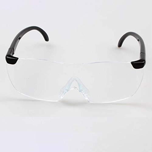 Big Vision 1.6X Lupenlesebrille Flammenlose, leichte Brillenlupe 250-Grad-Vision-Linse für ältere Menschen(Color:transparent lens & black leg) (Big Brille Vision)