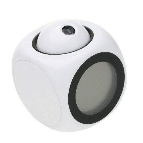 HSXOT Reloj Despertador De Proyección Digital con Monitor LCD Voz Hablada Proyector Led Negro