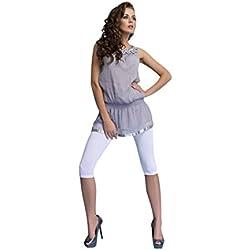 OssaFashion Mujer Leggings Cortos 3/4 Clásicos Algodón Color Sólido Pantalones Capri