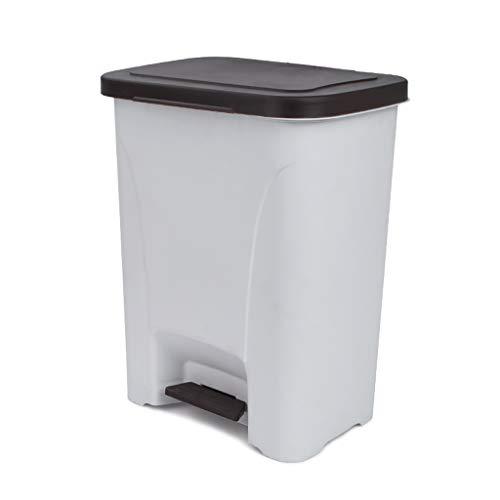 TRASH CAN Caja del Pedal compostador Gris de 25 l, cesto de Papel de plástico, biela de Metal de Pedal Engrosada para Interiores, Gran Capacidad para compostar en la Cocina, Sala de Estar