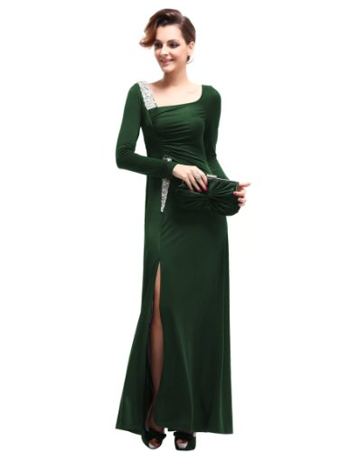 Ever Pretty Damen Strass Langer Arm Abendkleid 09736 Grün