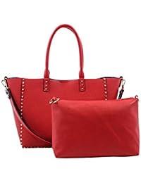 Womens PU Side Metal Stud Detail Strap Tote Bag+Plain Pouch Bag Set 62429 - B06Y3ZP8QB