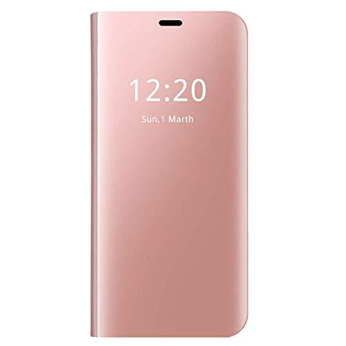 "Carcasa Xiaomi Mi 8 Flip Fundas Espejo PC Clear View 360° Protectora Xiaomi Mi 8 Lite Cover con Función de Soporte Anti-Choque Impermeable Case para Smartphone Mi 8 2018 6.21"" (Mi 8 Lite, Oro Rosa)"