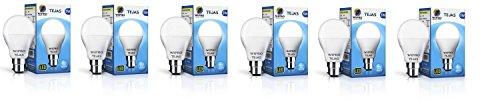 Wipro Tejas Base B22 5-Watt LED Bulb (Pack of 6, Cool Day Light)