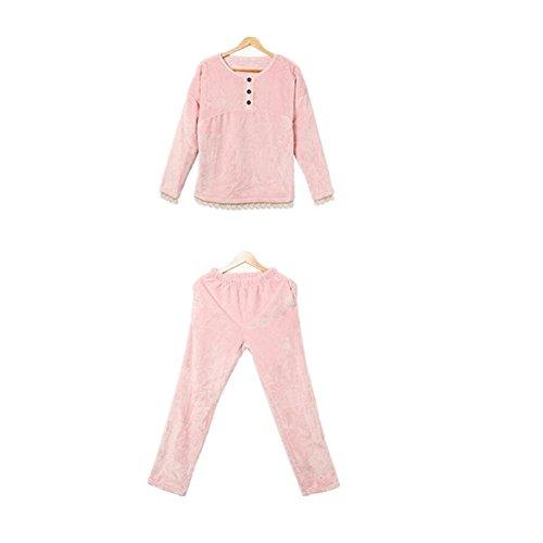 Le donne flanella accappatoi inverno spesse, i pantaloni lunghi pigiama a manica lunga , peach powder , xl
