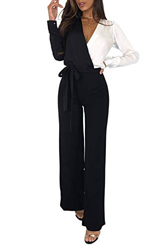 MASHIKOU Overall Damen elegant festlich Asymmetrischer Langarm V-Ausschnitt Belted Lang Breites Bein Hoher Taille Party Hose Jumpsuit Playsuits Herbst Winter (Schwarz Weiß, Large)