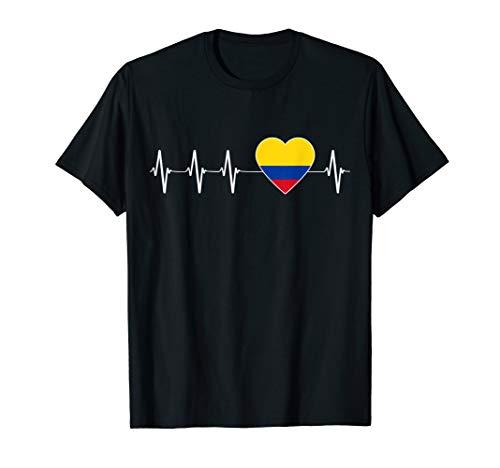 Kolumbianischer Herzschlag Ich Liebe Kolumbien Flagge Herz T-Shirt