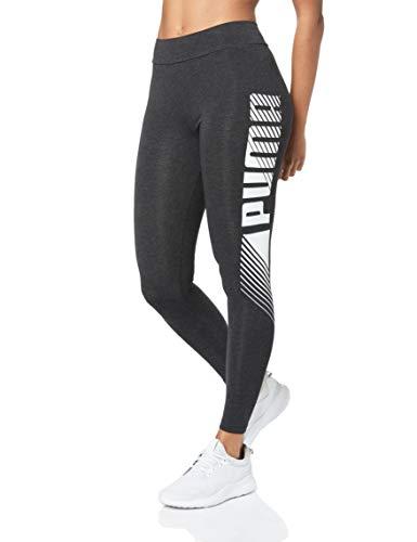 PUMA Damen ESS+ Graphic Leggings, Dark Gray Heather, M