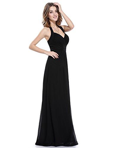 Ever Pretty Damen Elegant Rueschen Neckholder Lang Maxi Party Abendkleid 08487 Schwarz