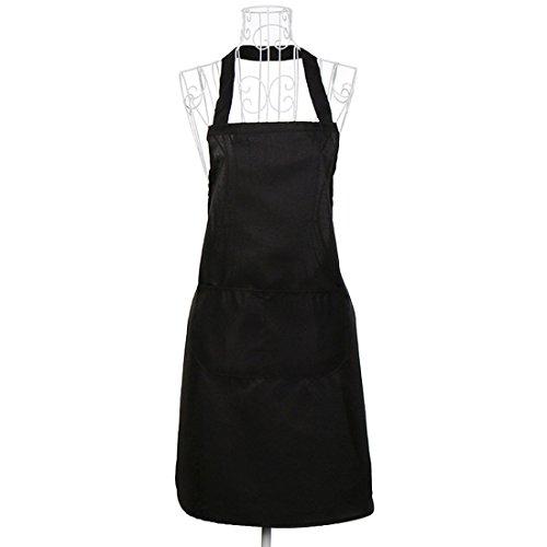 Plain Unisex Schürze Einfarbig Schürze Wasserdichte Schürze Küchenschürze Mit Zwei Taschen - Schwarz (Kleine Speichern Mädchen-kleidung Zu)