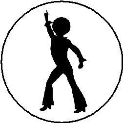 Magnet, Motiv Disco Tanzende Silhouette, 3,8 cm, süßer Tänzerin, Tanz 60er, 70er Jahre