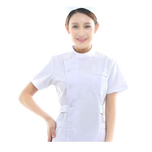 CX ECO Medizinische Uniform Krankenschwesteranzug für Frauen Gesundheitswesen Bequeme Arbeitskleidung mit Rundhalsausschnitt und 3 Taschen Medical Scrubs Top und Hose,White,XL - White Scrub-top