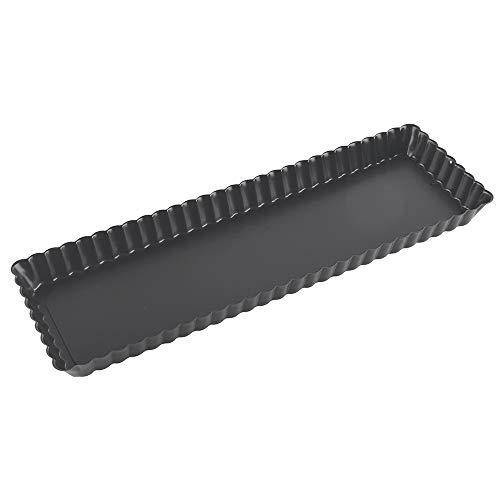 Paderno 47717-35 Tortiera Antiaderente con Fondo Mobile - Stampo rettangolare per dolci e torte salate 35 x 11 cm, Altezza 2,5 cm, colore nero