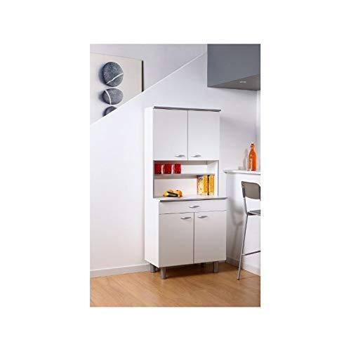 Parisot Easy Parisot-3241-Buffet Cuisine, Panneau de Particules, Blanc, 80x44x180 cm