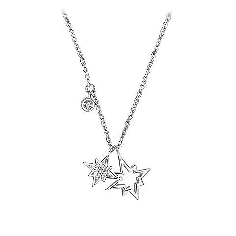 Belons femmes filles Collier Argent Sterling 925Oxyde de zirconium Doppel étoiles Hexagramme Pendentif Collier chaîne réglable