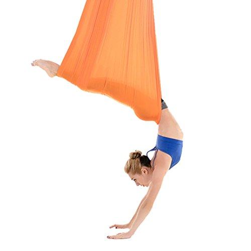 Yuanu micro elasticità air yoga amaca ultra forte safe durevole 5×2.8 metro multifunzione fitness hammock/altalena/sedia sospesa arancione taglia unica