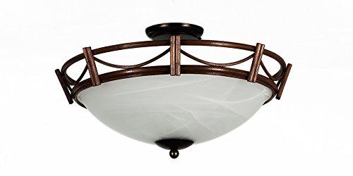 Deckenleuchte Korbleuchte Rattan Nußbaum-farbig Alabasterglas weiß Korblampe Deckenlampe Helios Leuchten Körbe Nussbaum