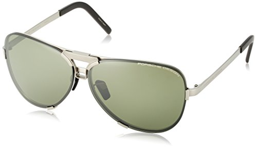 Occhiali da sole porsche design p8678 extra curved silver/green grey lenses uomo