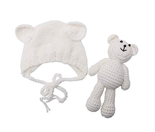 Matissa Neugeborenes Baby häkeln Strick Kostüm Fotografie Prop Baby Bär Hut und Puppe Set (Weiß) (Wasser Babys Kostüm)