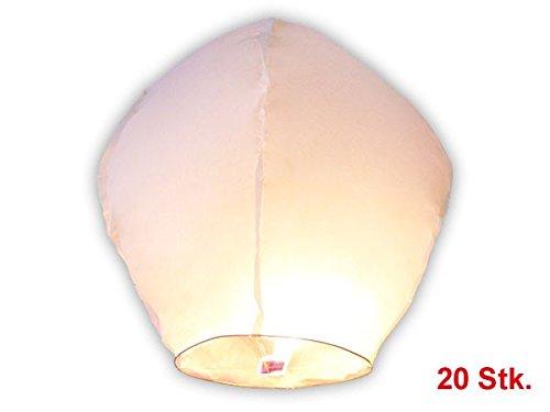 Lot de 20 lanternes volantes blanches blanche blanc en Papier de riz biodégradable surprise fête mariage céleste chinoise thailandaise anniversaire nouvel an romantique magique lanterne soirée