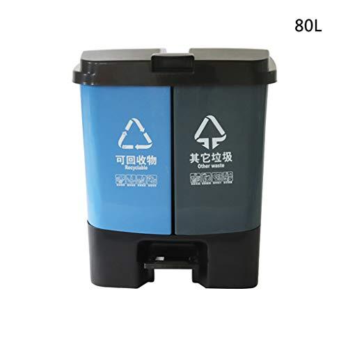 C-J-Xin Outdoor Mülleimer, hohe Kapazität Kunststoff Pedal Mülleimer Double Barrel Klassifizierung Mülleimer Die Mall Abfall recyclebar Mülleimer 30-80L Hohe Kapazität (größe : 80L)