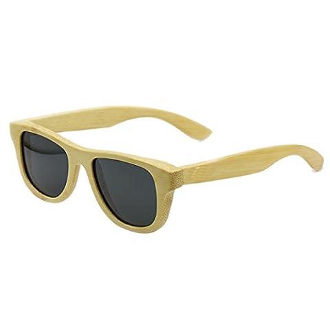 HAOYUXIANG Outdoor Fashion Retro Pure Natural Bamboo Car Fishing Beach Glasses,BambooColor
