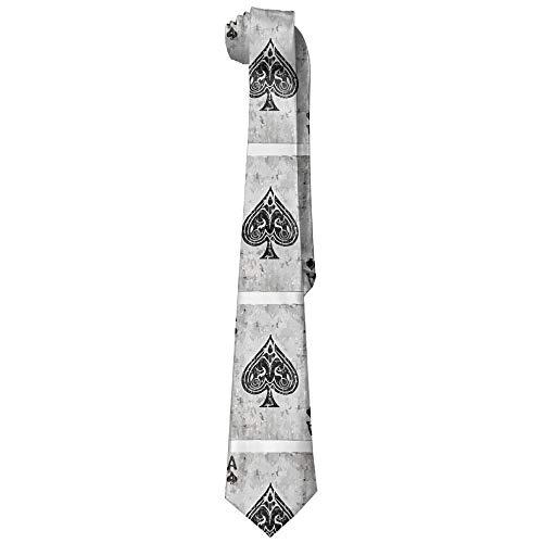 fengxutongxue Men's Vintage Ace Of Spades Card Poker Lover Necktie Tie Silk Necktie Neck Ties Elegant Neckties