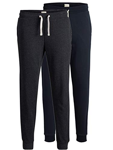 JACK & JONES 2er Pack Set Herren Jogginghosen Sweatpants aus 100% Baumwolle schwarz, blau, grau, dunkelgrau mit Bündchen lang Slim Fit Gratis Wäschenetz von B46 (2er Pack Mix 6, M)