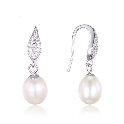 JewelryPalace Pendientes con Perla de agua dulce cultivada 8-9mm en plata de ley