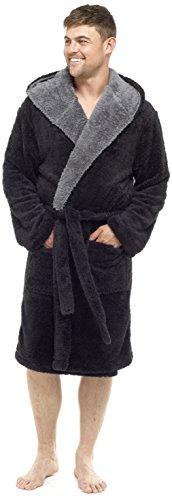 MICHAEL PAUL Herren Morgenmantel Black/Grey Hooded